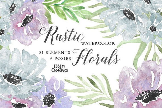 Purple Watercolor Flowers Clipart Leaves Winter Wedding Invitation Anemone Watercolour Graphics Rustic Floral From