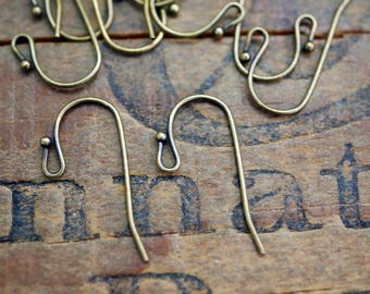 Antiqued Brass Ball Earwires Simple Ear Wires (5 Pair)
