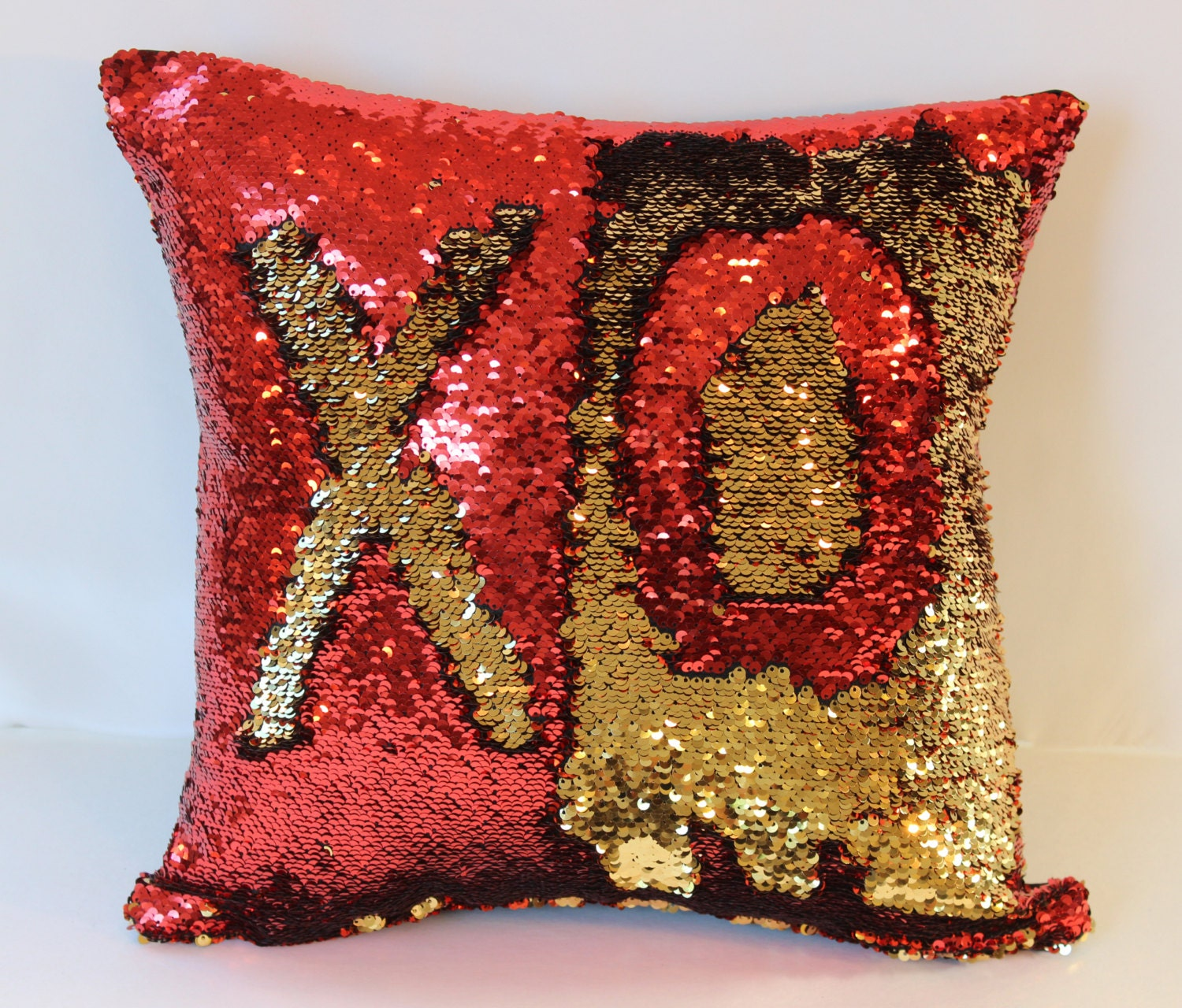 Red/Gold Mermaid Pillows Sequin Pillow Cover Interactive