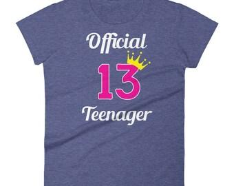 Girls 13th Birthday Official Teenager T-Shirt / Cute Teen Girl Shirt / Birthday Shirt for Teenagers / Princess Pink Birthday Tee