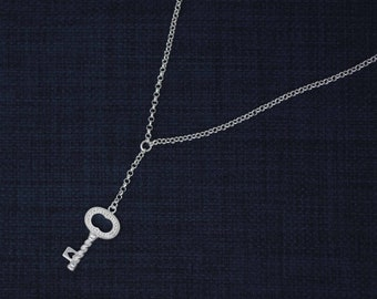 Sterling Silver Key Necklaces, Victorian Key Necklace, Silver Key Necklace, Key of my Heart Necklace, Silver Key Necklaces with Cz