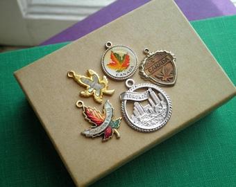 Canada Toronto Niagara Falls Maple Leaf Design Cloisonne Souvenir Charms - Vintage Enamel & Sterling Silver Charm Lot Canadian Pride Charms