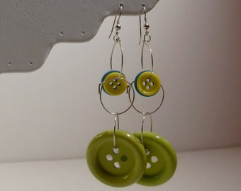 Lime Green Yellow & Blue Turquoise Button Hoop Long Dangly Earrings