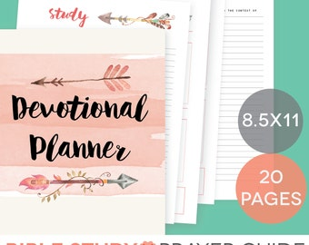 Daily Devotional Printable Set - Weekly Bible Study Guide, Letter-Size, Prayer Schedule, Verse Memory Cards, Inductive