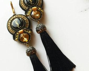 Soutache Ohrringe (soutache earrings) aus  authentischen  Knöpfen. Statement Ohrringe .
