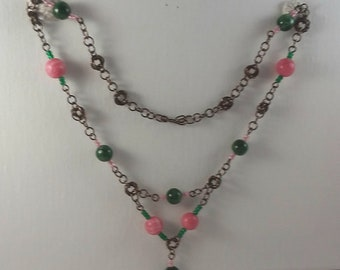 Vintage style chain with rhodochrosite and chrome diopside beads