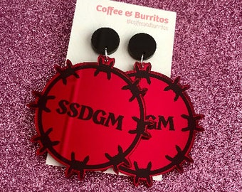 PRE-ORDER ~ SSDGM ~ Barbed Wire Red Mirror Acrylic Dangle Earrings