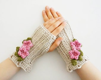 Floral Blossom Arm Warmers, ivory hand warmers, Hand painted merino wool, floral hand warmers, merino wool, ivory pink arm warmers