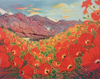 """Original large painting, red poppies mountain landscape, """"Mountain Valley Poppies"""" by Colorado artist Suzy Sadak"""