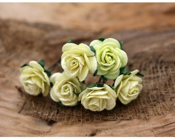 Small Yellow Green Roses, Set of 6 Mulberry paper flower , Bridal hair pins, Prom, Hair Accessories (FL217)