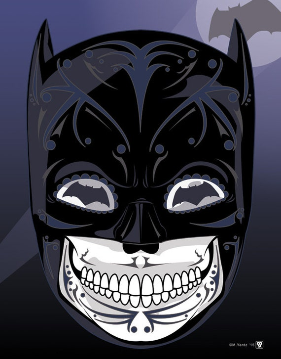 Batman dark knight sugar skull 11x14 print