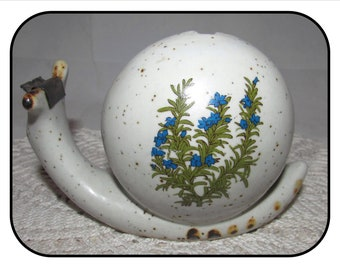 Vintage Ceramic Snail Tape Dispenser w/ Blue Flower Pattern by Counterpoint San Francisco , 70s, office, desk accessory