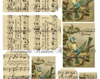 Shabby Vintage chic Victorian Christmas Blue Birds Music Tags Digital Collage sheet