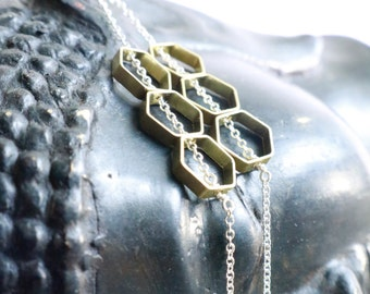 Honeycomb Earrings, Hexagon Jewelry, Geometric Minimalist, Gold Hexagons, Raw Gold Brass, Dangle Drop, Sterling Silver, Long Silver Chains