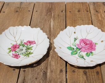 Nasco Pink Rose Plate and Similar Japanese Plate - Set of 2