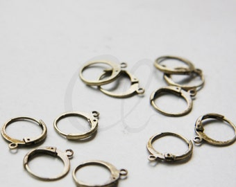 4pcs (2 Pairs) Antique Brass Earring Hooks-Round Lever Back 14.8x12.2mm (3034C-I-434)