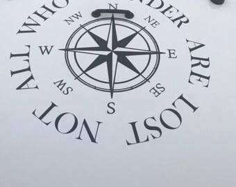 Not all who wander compass hood decal