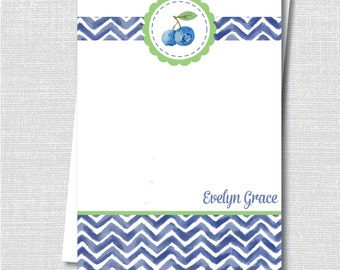 Blueberry Themed Notecard - Blueberry Themed Party Thank You - Digital Design or Printed Notecards - FREE SHIPPING