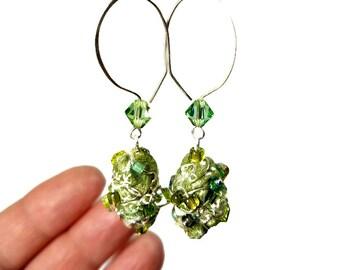Green Drop Earrings, Light Green Earrings,  Beaded Earrings,  Fiber Art, Artsy Jewelry, Artsy Gifts, Moss Green, Dangle