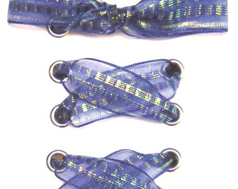 """THE SHOELACES SHOP-Iridescent Organza Ribbon Shoelaces, Organza Shoe Laces, Blue Shoelaces, Navy Shoelaces, """"Crystal Blue Occasion"""""""