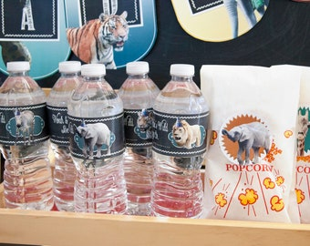 """Zoo Birthday Party Decor Water Bottle Labels -- 2x8.5"""""""