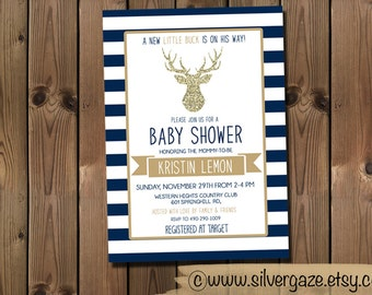 Navy and Gold Baby Shower Invitation, Buck Invite, Printable Digital File_71B