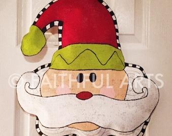 Santa Claus Burlap Door Hanger