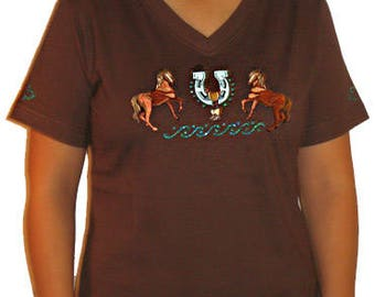 Embroidered Horse Unique Custom Women's Cute Fun Glitter Cool Embroidery  Bling  V-neck T shirt Cindy's Handmade Shirts Boutique
