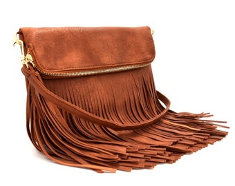 ASSORTED COLORS - Long Fringed Fold Over Body