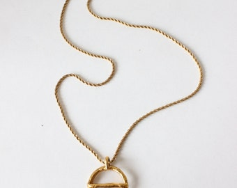 Vintage Goldtone Venus Female Symbol Pendant Long Necklace