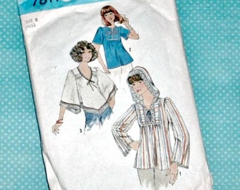 Vintage Sewing Pattern   1976 Simplicity Misses' Pullover Top   Hippie Shirt   Size 8