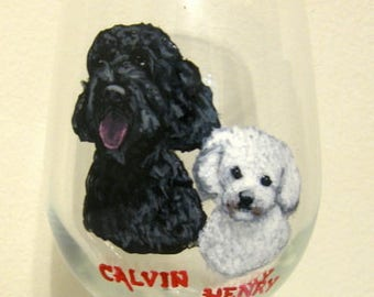 Mothers Day Gift, Painted Dog Wine Glass, Pet Portraits, Painted Dogs, Pet Loss Memorial, Personalized Glassware, Bar Decor, Painted Glass