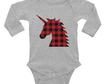 Baby Plaid Unicorn Onesie