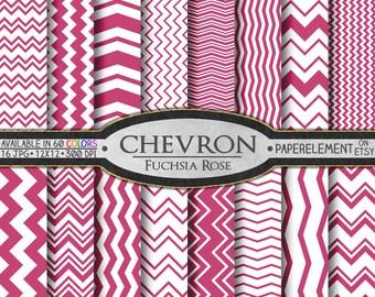 Rose Chevron Digital Paper Pack - Instant Download - Digital Scrapbook Paper with Chevron Stripe