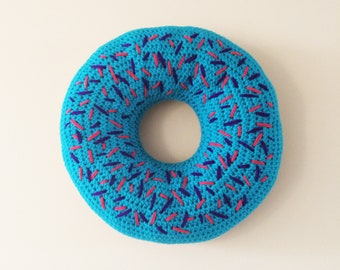 Blue Heaven Donut Cushion with Sprinkles