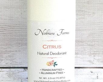 All Natural Deodorant - Natural Citrus Deodorant Stick - Aluminum Free Deodorant - Handmade Deoderant - 2.5 oz. Stick Deodorant