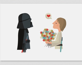 Illustration, Print, Happy Father's Day (Luke), Star Wars, Tutticonfetti, Wall art, Art decor, Hanging wall, Printed, Decor home. Gift idea.