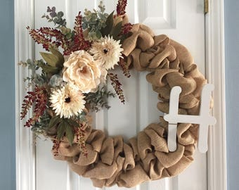 Floral| Monogram| Wreath|Fall|Autumn|Burlap