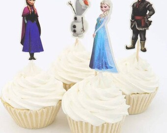 READY TO SHIP 12 Frozen Toppers, Picks, Cake Toppers, Cake Topper Pick, Cupcake Picks, Birthday, Baby
