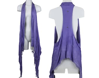 Periwinkle Purple Pashmina 6-Way Scarf with Fringe - One Size - Fred & Bean