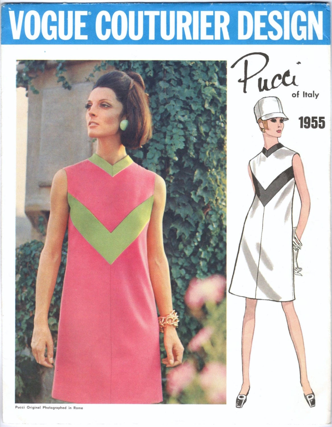 1960s Pucci dress pattern feat. Mirella Petteni Haggiag - Vogue Couturier Design 1955