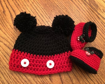 Mickey Mouse or Minnie Mouse Crochet Beanie and Mary Jane Shoes or boots.
