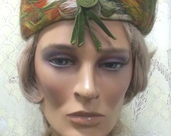 Vintage 1950/60s Pillbox Feather hat
