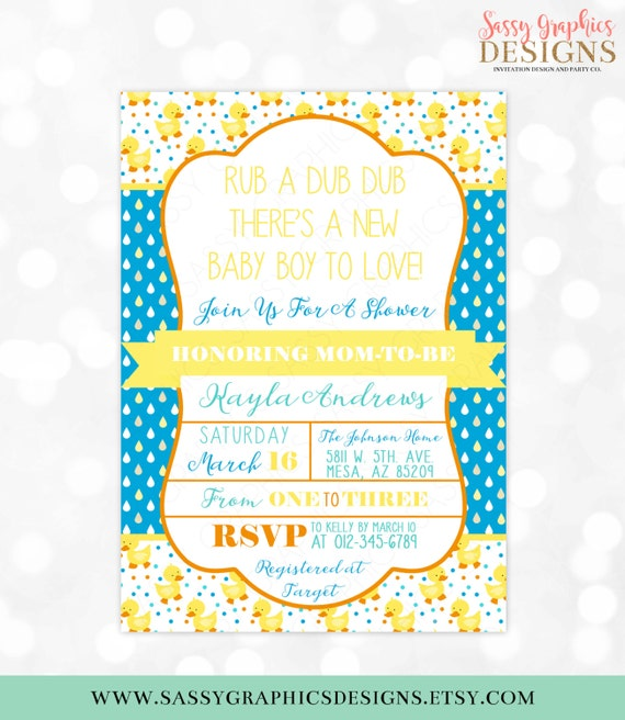Rubber ducky boy baby shower invite baby shower invitation like this item filmwisefo Choice Image