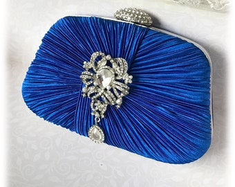 Royal blue clutch, Wedding clutch, formal clutch, evening bag, bridesmaid clutch, bridesmaid bag, Classic crystal clutch