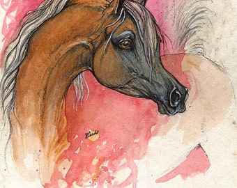 palomino arabian horse, equine art, equestrian, original pen and watercolor painting