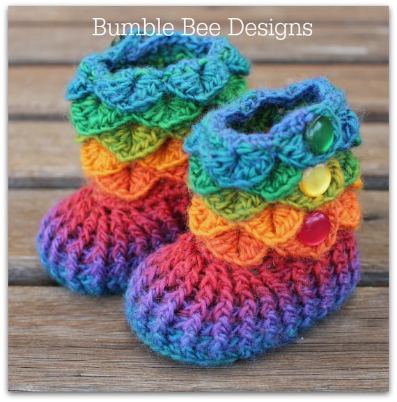 Crocodile Stitch Baby Booties That Stay On Baby Booties
