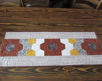Western Quilted Table Runner, Approx. 42 inches by 16 inches,  Reversible Table Runner,  Cowboy Table Decor, Cowboy Hats, Boots, Ropes, Wire