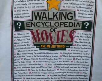 Movie Buff vintage T Shirt NOS Walking Encyclopedia of Movies 1990's 50 Questions and Answers Trivia tee new old stock L/XL single stitched
