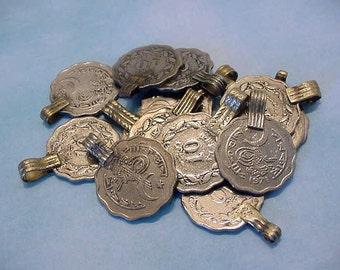 Vintage Pakistan Coins Upcycled Pendant Tribal Supplies Jewelry Pendants Earrings Altered Art Collage etc 13t123 10c